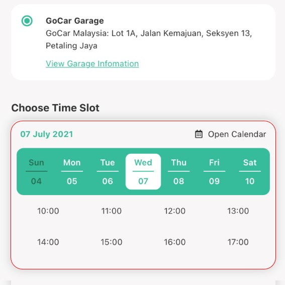 STEP 2: Select preferred Date & Time (min. 1 day pre-booking)